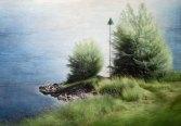 """Pauline Luijben, """"Twee struiken"""", acryl op doek, 110 x 160 cm."""