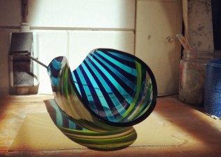 Frank van den Ham, overgesmolten ovengevormd glas.