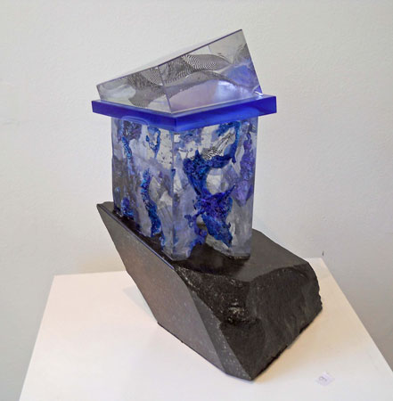 Lubomir Ferko, House of Haruspic, crystal glass & composition glass and granite, 34 x 28 cm.