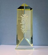 "Maciej Zaborski, ""Illusion 10"", 2013, geslepen optisch glas, gegraveerd 'mille buchi' techniek, 33x14x4 cm."