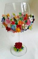'Lente', aan de brander gemaakte bloemetjes, hoog 21 cm.