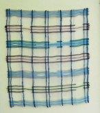Weefkunst 'Blauw-paars 19-07-02' Linnen, 50x60cm.