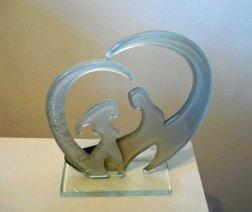 Stel Wit, glazen schijven, 16 x 15 cm.