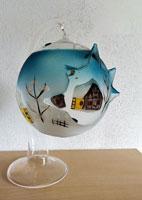 Open glazen Kerstgrot, handbeschilderd, hoogte 22 cm.