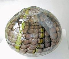 Glassculptuur Nr. 4719 - door metaal geblazen glas, 26 x 23 cm.