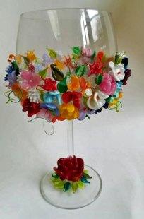 Lente - aan de brander gemaakte bloemen, hoog 21 cm.