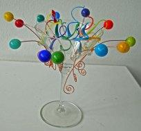 Party - aan de brander gemaakte bollen en krullen, hoog 20 cm.