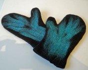 Wanten Blauw - zwart naaldvilt versierd met turkoois lontwol, Small.