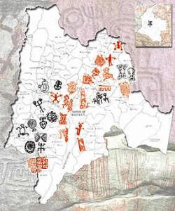 carte art rupestre Colombie