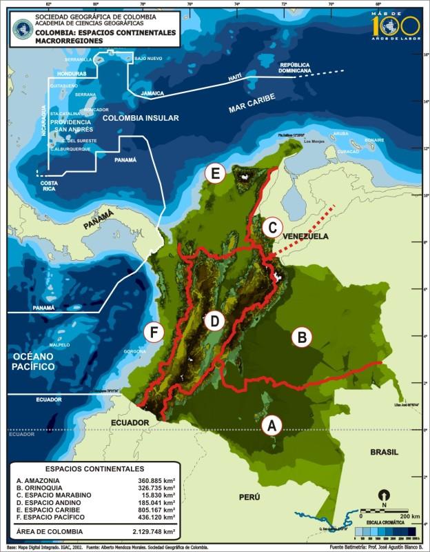 les grandes régions naturelles de Colombie