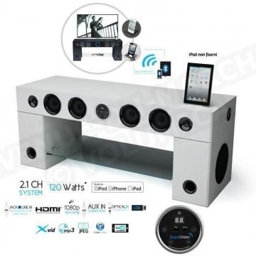 soundvision soundstand100 meuble tv hifi bluetooth blanc