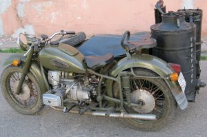 Russian wood fueled motorcycle.