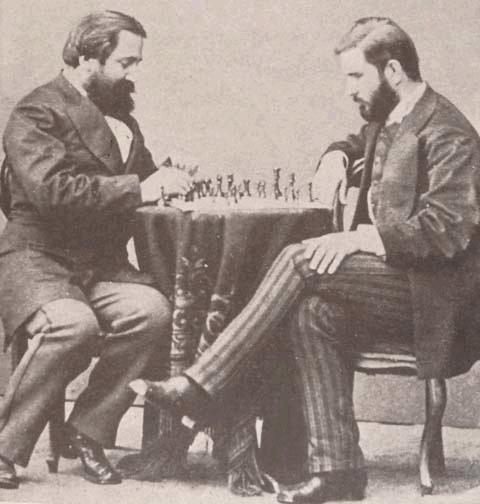 Georgian writers Ilia Chavchavadze and Ivane Machabeli playing chess, 1873 St Petersburg. Public domain photo.