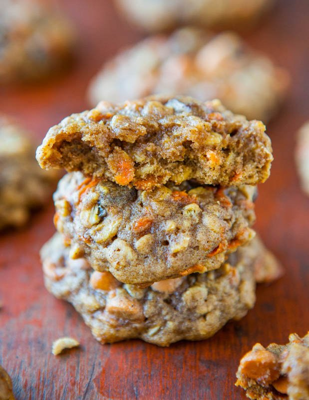 Soft and Chewy Spiced Carrot Cake Cookies stack