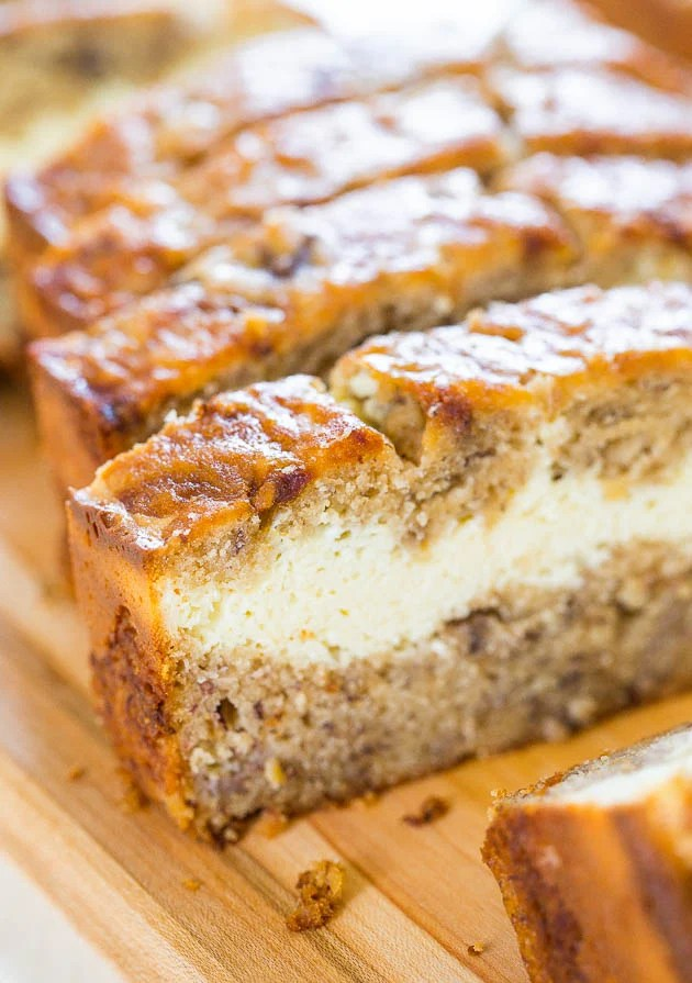Cream Cheese Filled Banana Bread That S Like Having Cheesecake Baked In