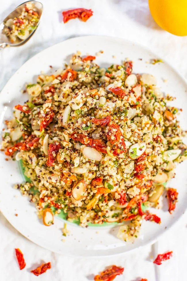overhead view of zesty quinoa salad on a plate
