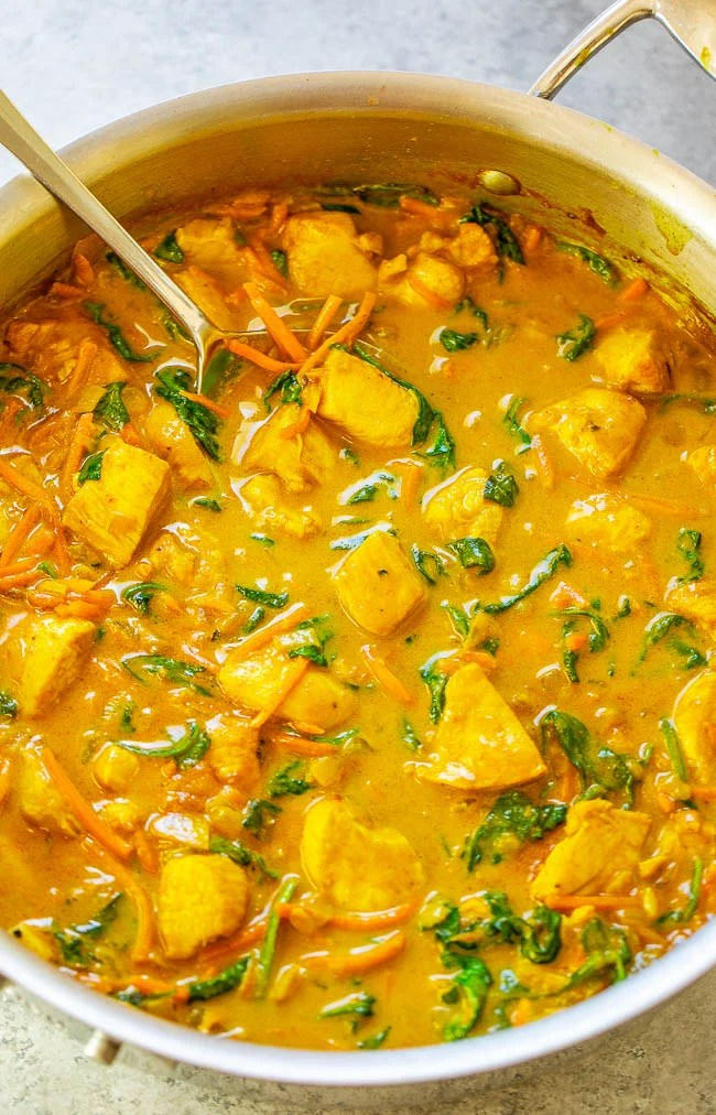 Thai Yellow Curry with Chicken — Better-than-takeout yellow curry is EASY and ready in 25 minutes!! Healthy comfort food with the PERFECT amount of heat and lots of textures and flavors in every bite! Impress your friends and family and make this DELICIOUS curry at home!!