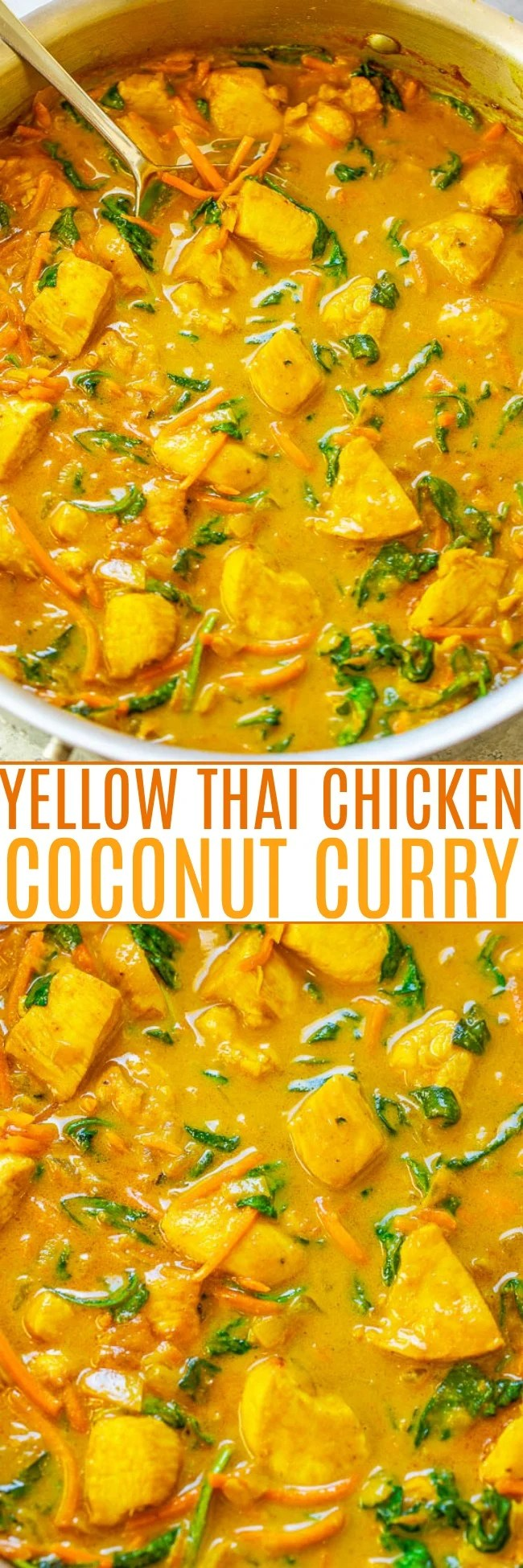Yellow Thai Chicken Coconut Curry - Better-than-takeout yellow curry is EASY and ready in 25 minutes!! Healthy comfort food with the PERFECT amount of heat and lots of textures and flavors in every bite! Impress your friends and family and make this DELICIOUS curry at home!!