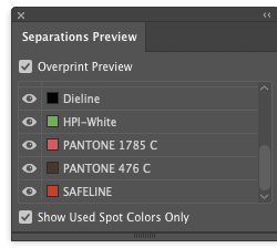 Separations Preview showing white ink