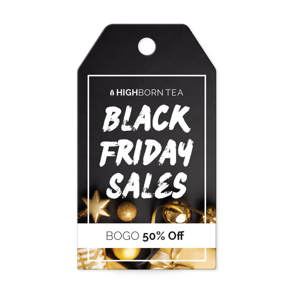 Avery Black with Gold Gifts and Decorations Customizable Banner Tag template for Black Friday