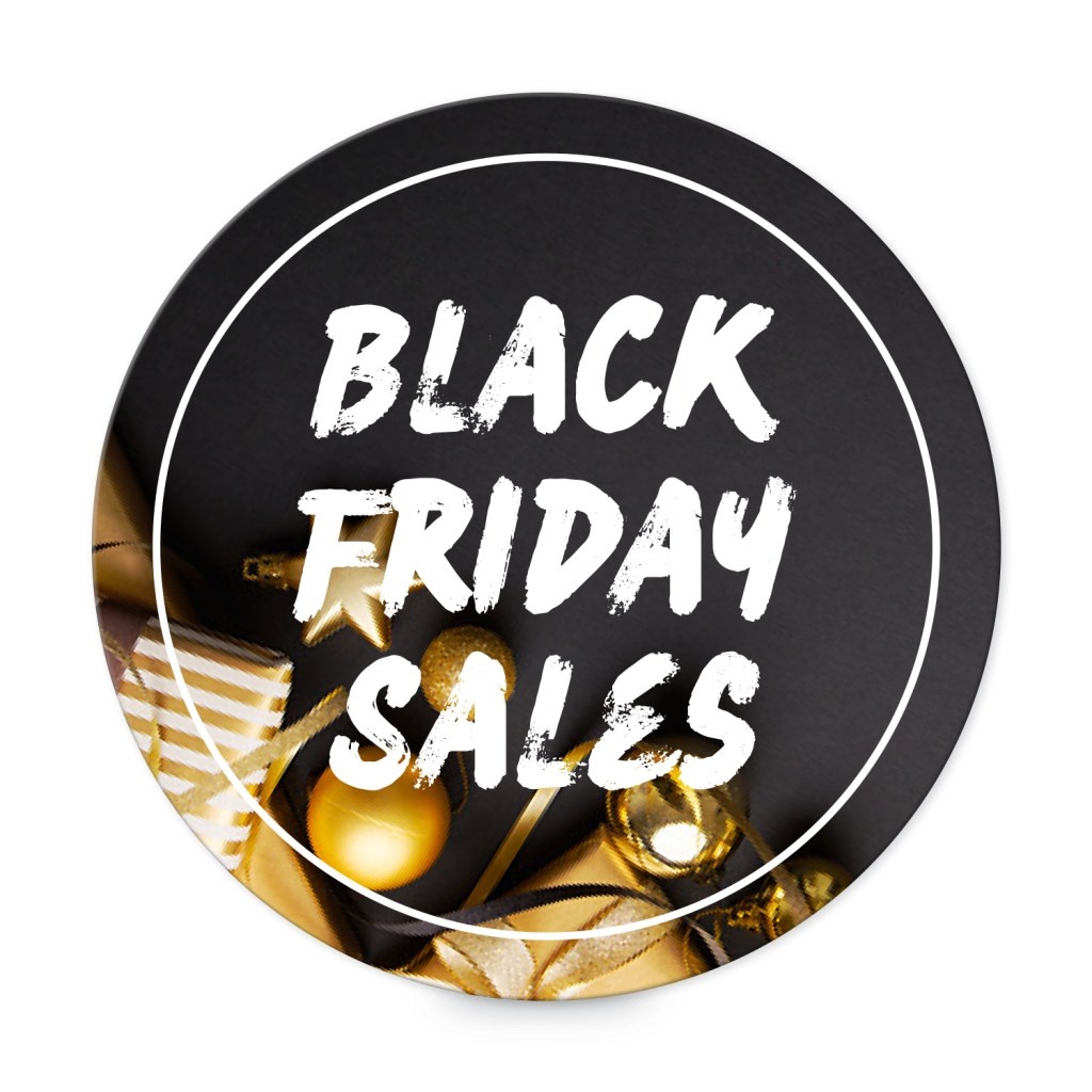 "Avery Black with Gold Gifts and Decorations Customizable 3"" Round Label template for Black Friday"