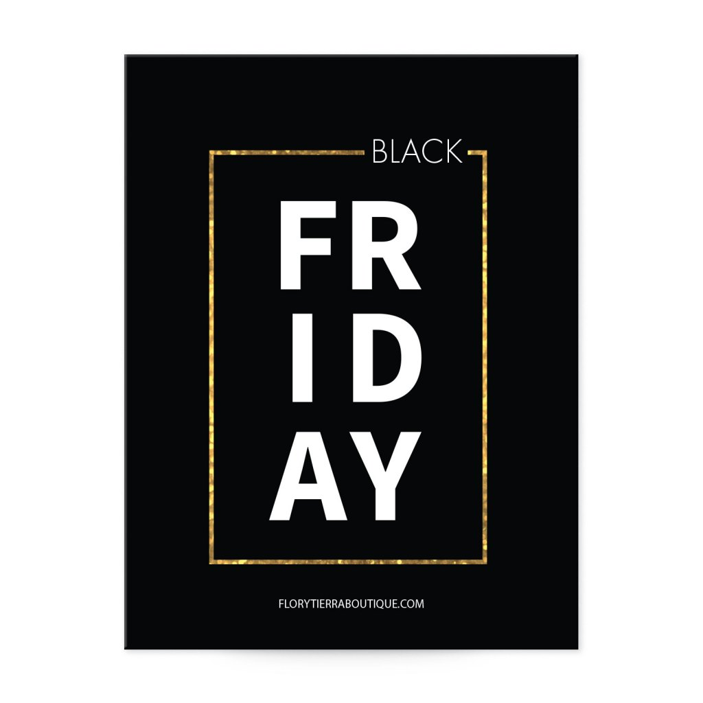 "Avery Black with Gold Frame 5-1/2"" x 4-1/4"" Tall Postcard Template for Black Friday Sales"