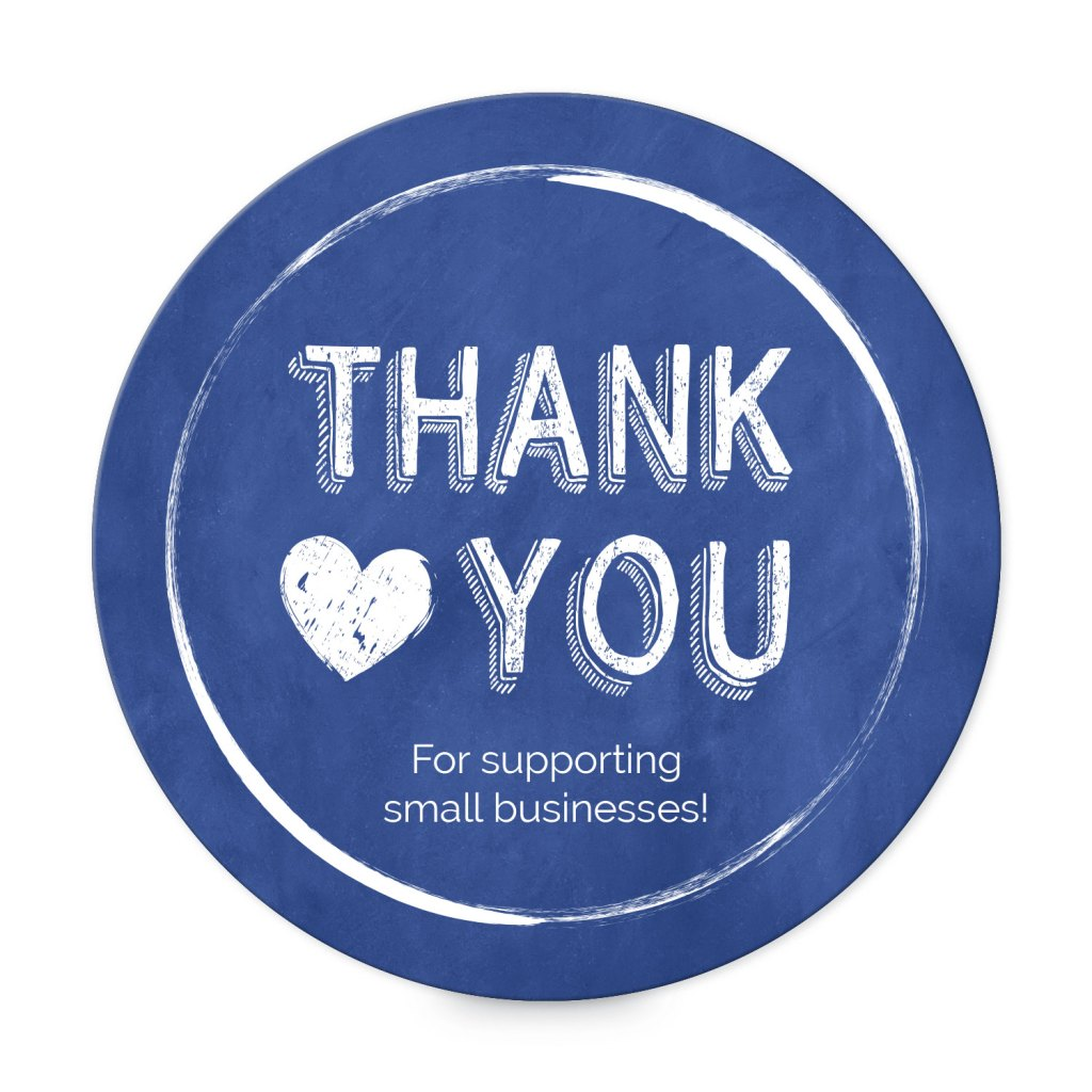 "Avery Blue and White Heart Customizable 3"" Round Label template for Small Business Saturday"