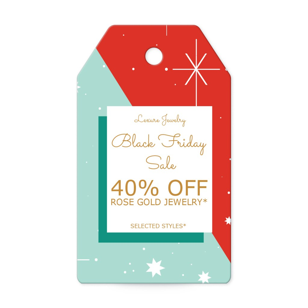 Avery Red and Green Retro Customizable Banner Tag template for Black Friday