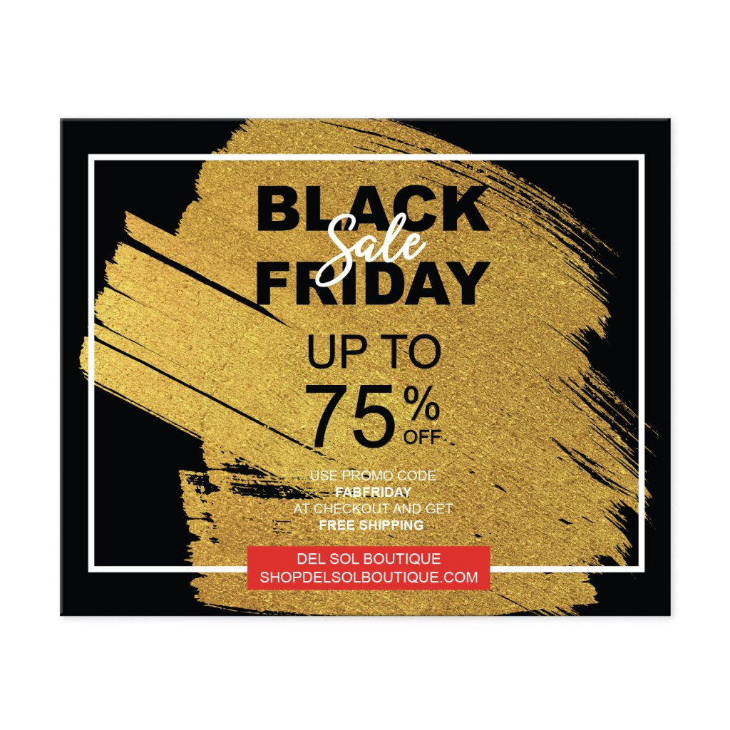 "Avery Black with Gold Splash 4-1/4"" x 5-1/2"" Postcard Template for Black Friday"