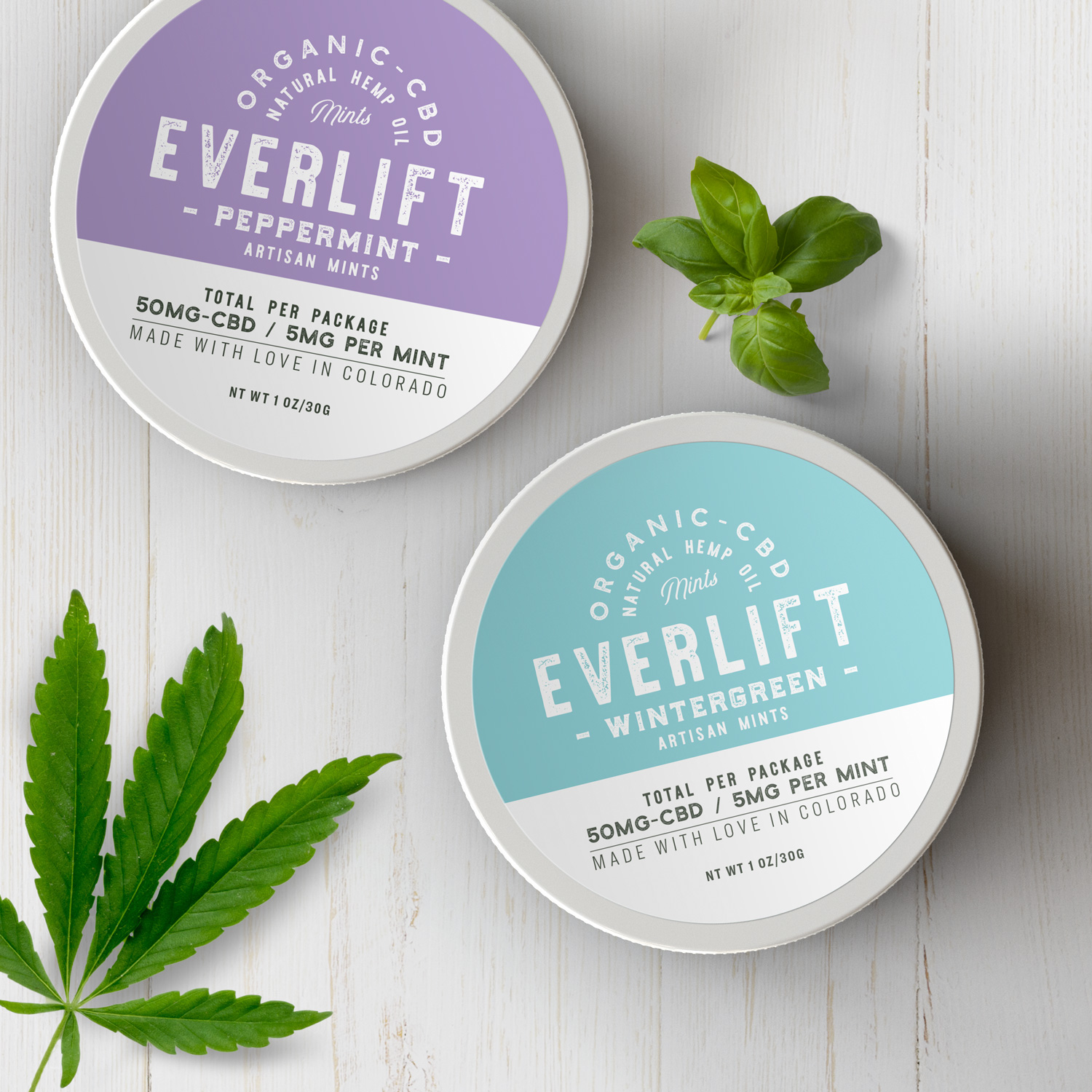 CBD Mints & edibles with custom printed CBD labels from Avery WePrint