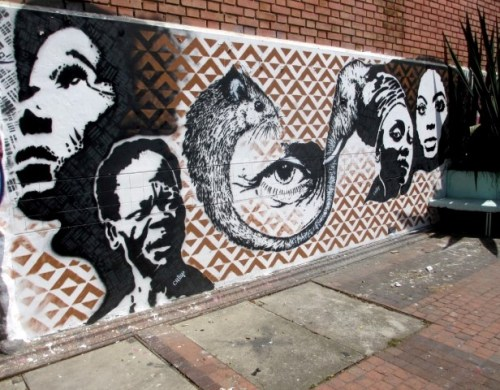 crisp stenciled graffiti