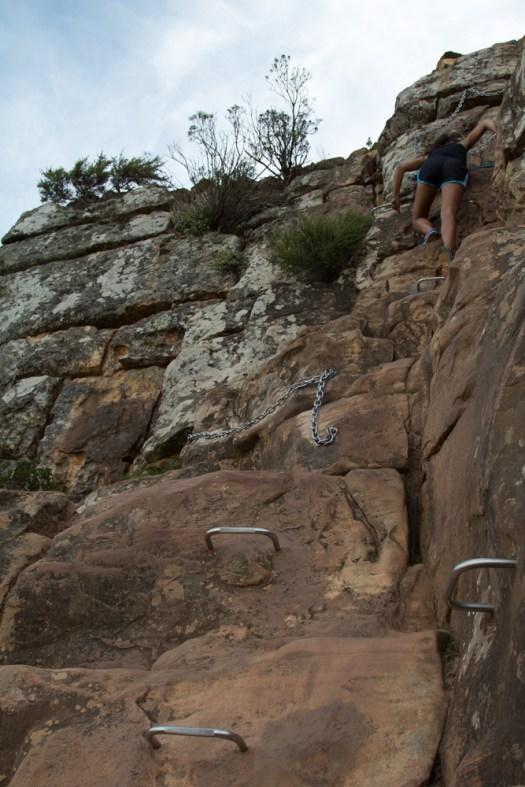 cape town lions head mountain hiking rungs