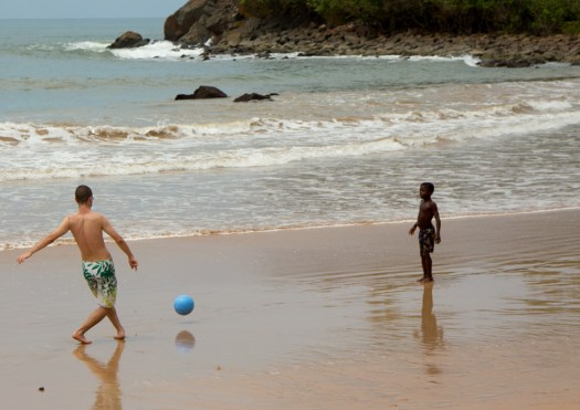 ghana beach soccer with kids