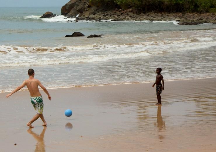 ghana beach soccer with kids