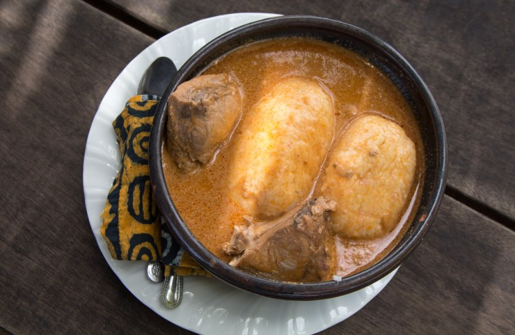 ghana groundnut soup and omo tuo