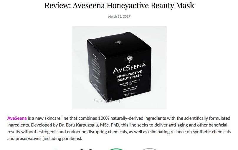 CafeMakeup.com Review: Aveseena Honeyactive Beauty Mask