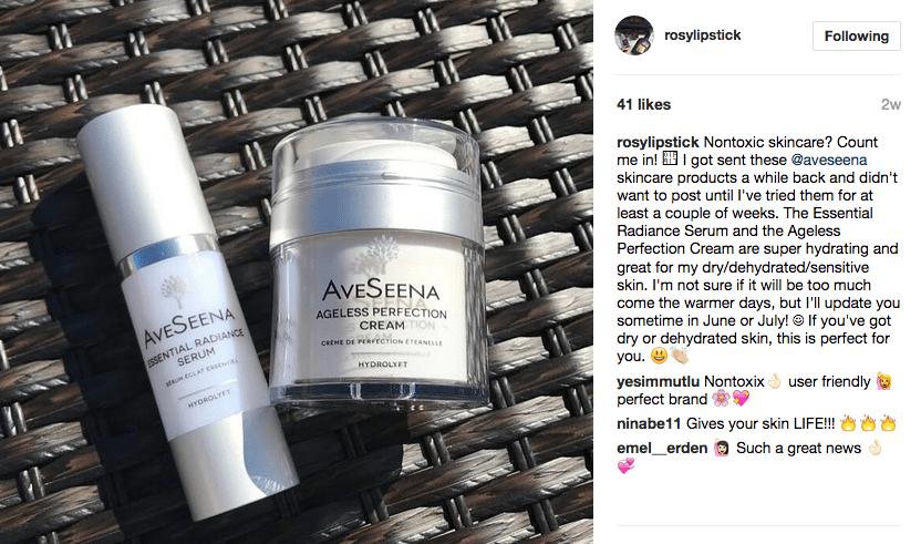 Rosy Lipstick AveSeena Skin care review ageless perfection cream essential radiance serum