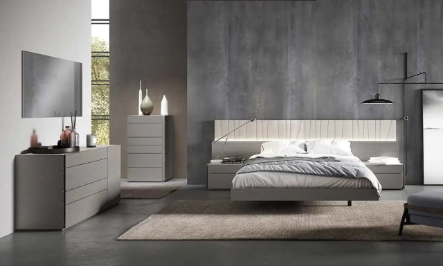 Grey Bed with Light Grey Lacquer NJ Paola | Contemporary ...