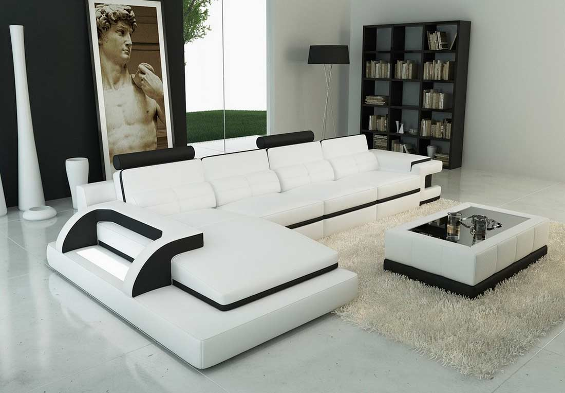 Modern White Leather Sectional Sofa Vg122c Sectionals : leather sectionals modern - Sectionals, Sofas & Couches