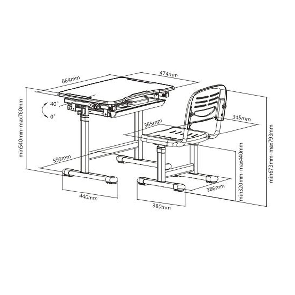 Boost Industries Kidzdesk Kd26b Ergonomic Height Adjustable Children Desk And Chair Set Blue