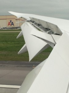 Arriving at KTUL, AA's maintenance hub. Flaps and speed brakes fully extended.