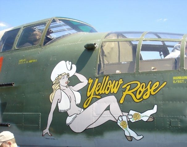 The Yellow Rose is named after the traditional Texas folk song about a man longing for a beautiful southern woman. You can read more about the actual aircraft here: http://www.cafcentex.com/aircraft/b25.php