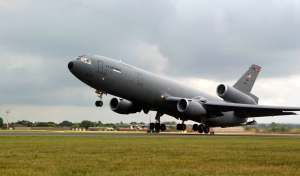 ROYAL AIR FORCE MIDENHALL, England -- A KC-10 Extender from Travis Air Force Base, Calif., takes off on a mission. The 100th Air Refueling Wing here provides operational support and the base serves as a transiting point for personnel, aircraft and equipment destined for Europe, Africa and Southwest Asia. (U.S. Air Force photo by Airman 1st Class Meghan Geis)