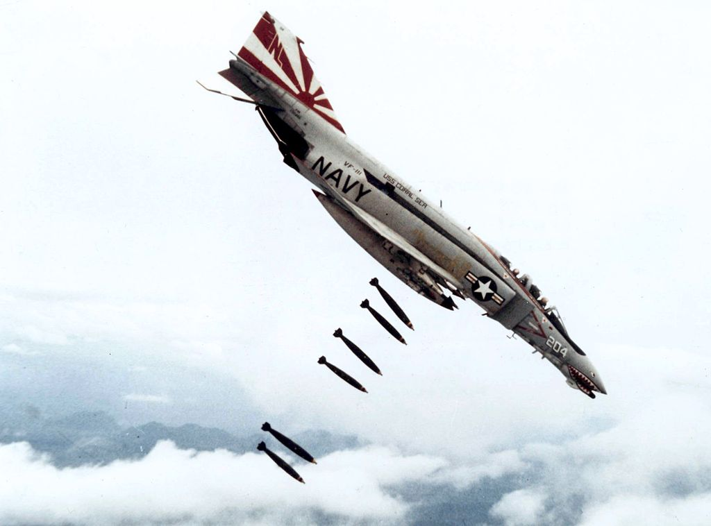 An F-4 Phantom on a bombing run in Vietnam. Credit: U.S. Navy National Museum of Naval Aviation.