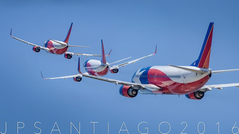 Multiple exposure photo I did to show the flight crew rocking Lone Star One's wings on her final departure.