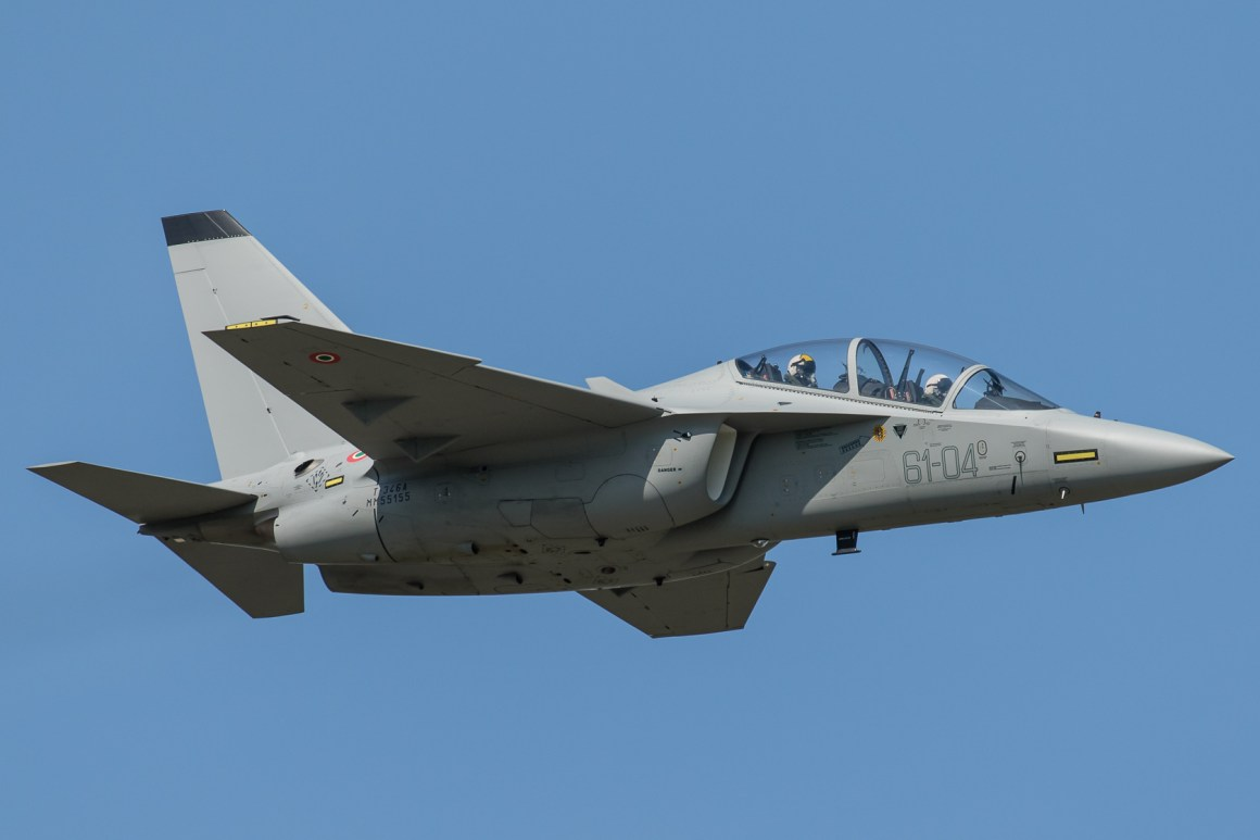 The Alenia Aermacchi T-346A will be the starting point for the Raytheon/Leonardo/Honeywell Aerospace proposed T-X aircraft. (Alenia Aermacchi photo G.M. Azzellotti)