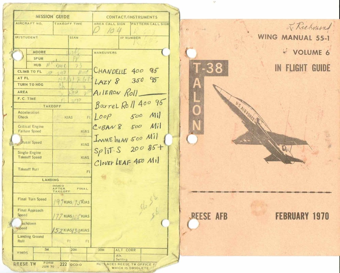 Jeff's notes from his T-38 training flights back in 1970.