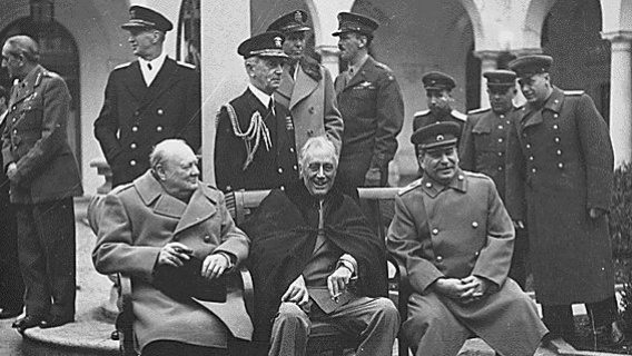 Post WWII meeting in Yalta, 1943. Left to right: Prime Minister Winston Churchill, President Roosevelt, and Premier Joseph Stalin.