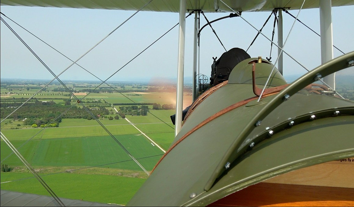 One of the most significant drawbacks of the DH-4 design was the fact that the large fuel tank sat between the pilot and observer/gunner. This meant that in the days before radio communications, the two crew members could not easily communicate with one another.  Photo Copyright © Historical Aviation Film Unit.