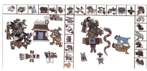 Aztekische Hieroglyphen-Handschrift aus der Vatikanischen Bibliothek -- Quelle: humboldt-portal.de